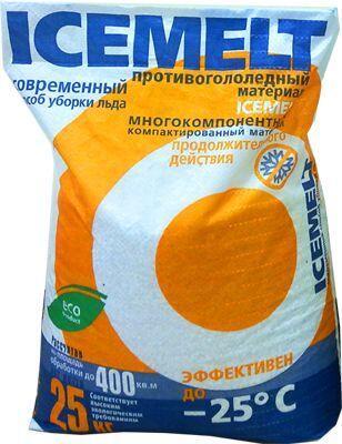 Противогололедный реагент АЙСМЕЛТ (25 кг) до -25ºС