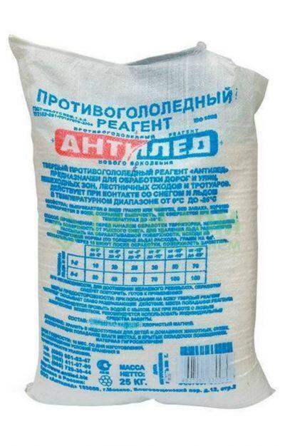 Противогололедный реагент АНТИЛЕД (25кг) до -25ºС