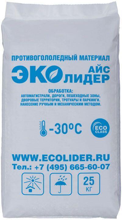 Противогололедный реагент ЭКОЛИДЕР АЙС (25 кг) до -30ºС