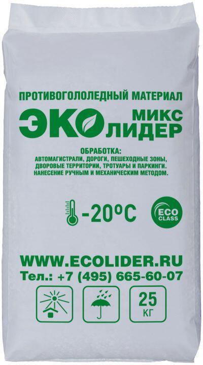 Противогололедный реагент ЭКОЛИДЕР МИКС (25 кг) до -20ºС