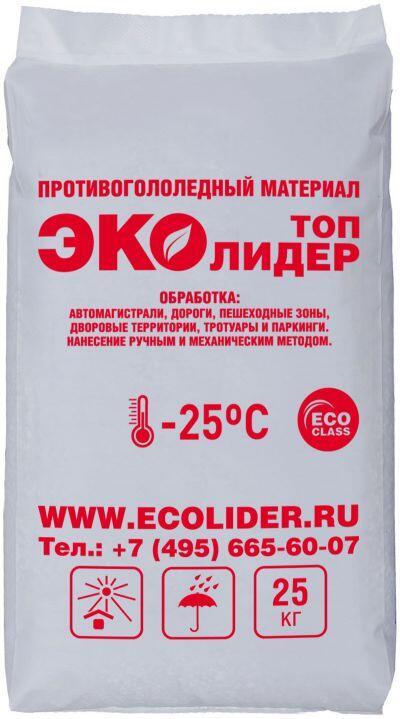 Противогололедный реагент ЭКОЛИДЕР ТОП (25 кг) до -25ºС - фото 1