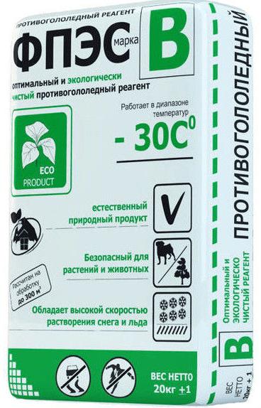 Антигололедный реагент ФПЭС марка-В, (25 кг)  до -30ºС