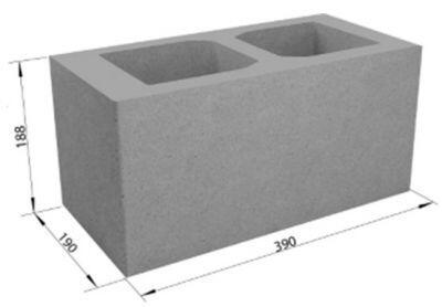 Пустотелый керамзитобетонный блок СКЦ-1Р плотность 1000 (40х20х20)