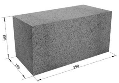 Полнотелый керамзитобетонный блок СКЦ-1ПРП плотность 1650  (40х20х20)