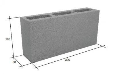 Перегородочный пустотелый керамзитобетонный блок СКЦ-3Р (80) плотность 1000