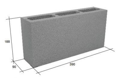 Перегородочный пустотелый керамзитобетонный облегченный блок СКЦ-3Р (С) плотность 750