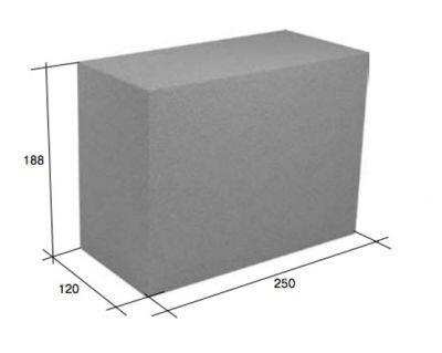 Перегородочный полнотелый керамзитобетонный блок СКЦ-25Р плотность 1750