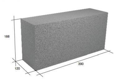 Перегородочный полнотелый керамзитобетонный блок СКЦ-39Р плотность 1750