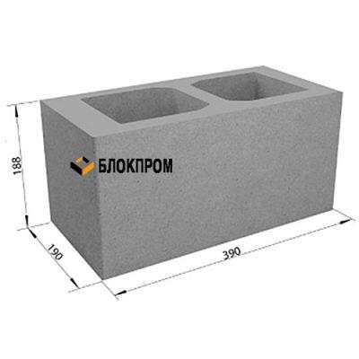 Пустотелый бетонный блок СКЦ-1Л плотность 1530 с закрытым дном 40х20х20
